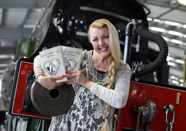 Fred Dibnah's widow, Sheila, attends Locomotion: The National Railway Museum at Shildon to promote her book, A Cast Iron Will.  She is pictured by her late husband's favourite locomotive, Stirling single GNR No.1.