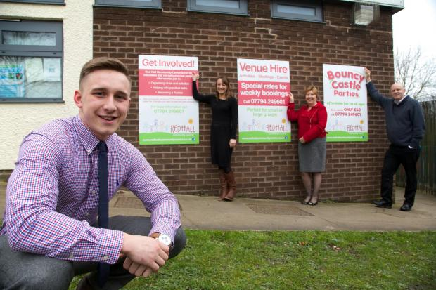 NEW SIGNS: Jenny Ivison and Carol Huitson from RDW, Martin Landers Trustee at Red Hall Community Centre  and Josh Palin from DBS at the front.