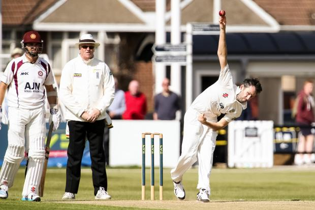 MAXIMUM EFFORT: Durham's Graham Onions strives for a wicket at Wantage Road