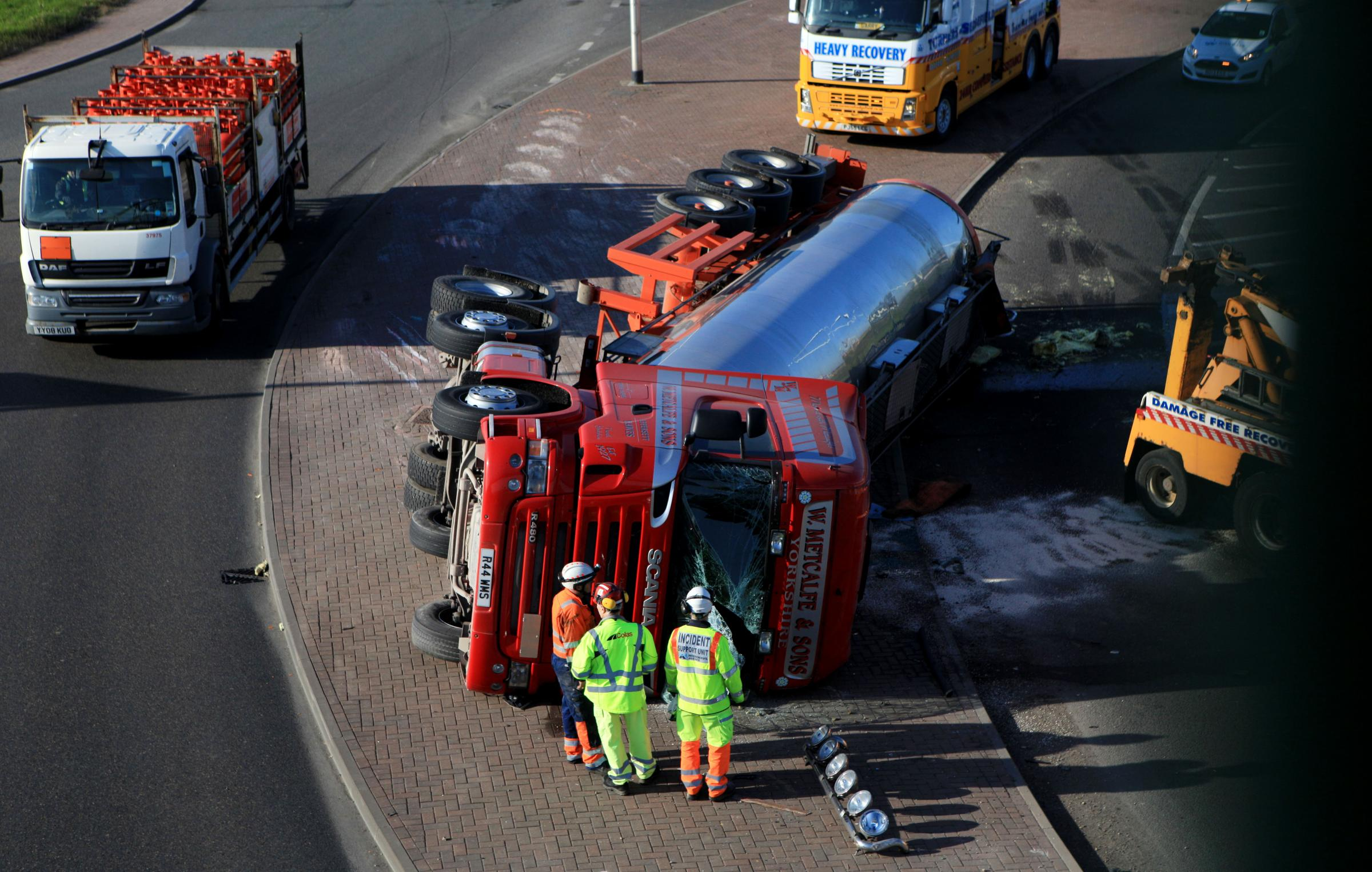 TALKING POINT: The water tanker on its side. Picture: SARAH CALDECOTT