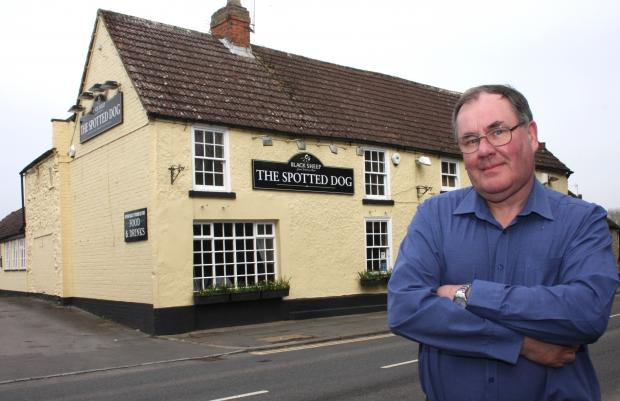Stephen Grabham outside The Spotted Dog in High Coniscliffe