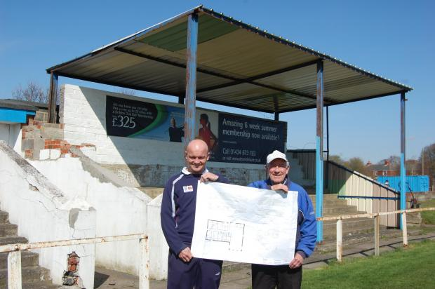 Annfield Plain manager Keith Sheardown and volunteer groundsman Marshall Lawson with the plans to revamp the club