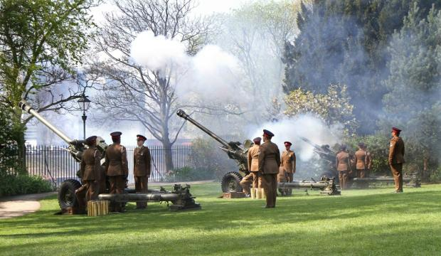 4th Regiment Royal Artillery based at Topcliffe perform the 21-gun salute in Museum Gardens, York