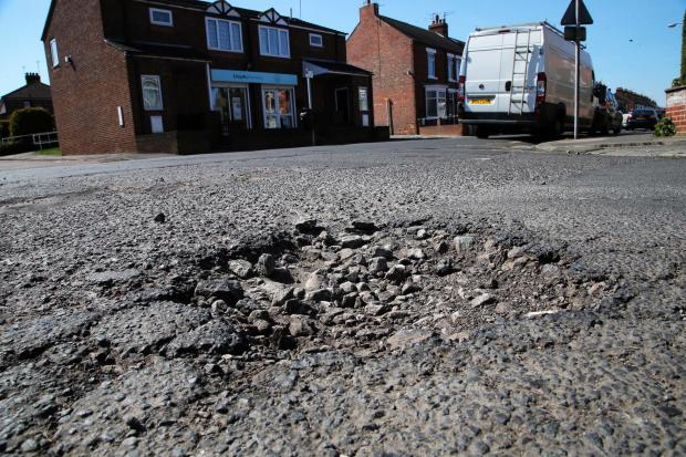 A pothole in Orchard Road, Darlington