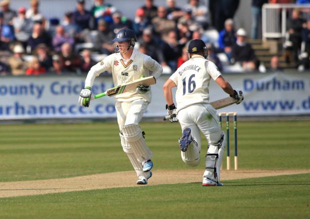 SOLID KNOCK: Keaton Jennings, with Scott Borthwick, scored well for Durham