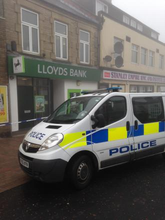 Police make second arrest in investigation into robbery at Stanley town centre bank on Tuesday