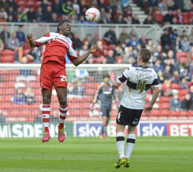 The Northern Echo: HIGH RISE: Middlesbrough's Kenneth Omeruo rises higher than Reading's Adam Le Fondre