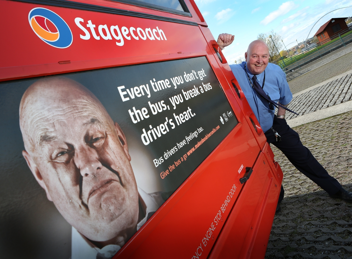 Billingham bus driver Brian Arnold was picked to appear on posters as part of the Catch the Bus Week initiative
