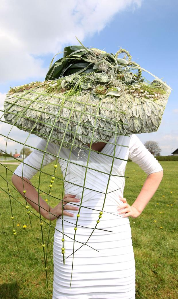 The Northern Echo: Fifty shades of green - the spectacular hat designed by Lucy Hutton Smith.