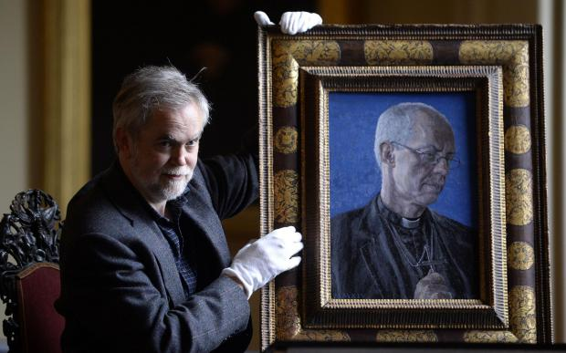 The first portrait of the Archbishop of Canterbury Justin Welby by artist Roger Wagner