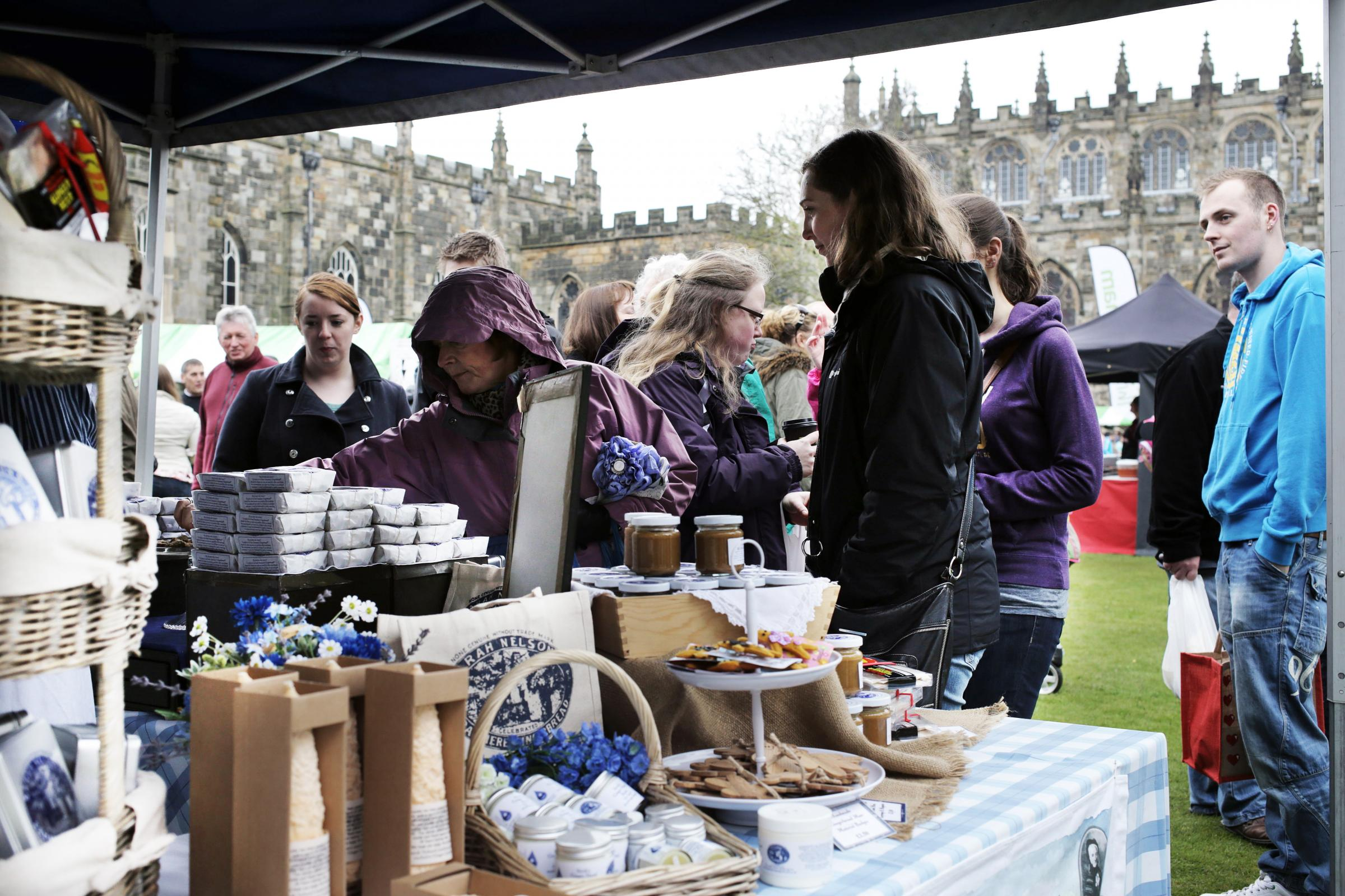 HISTORIC FLAVOUR: Visitors at one of the stalls in the grounds of Auckland Castle