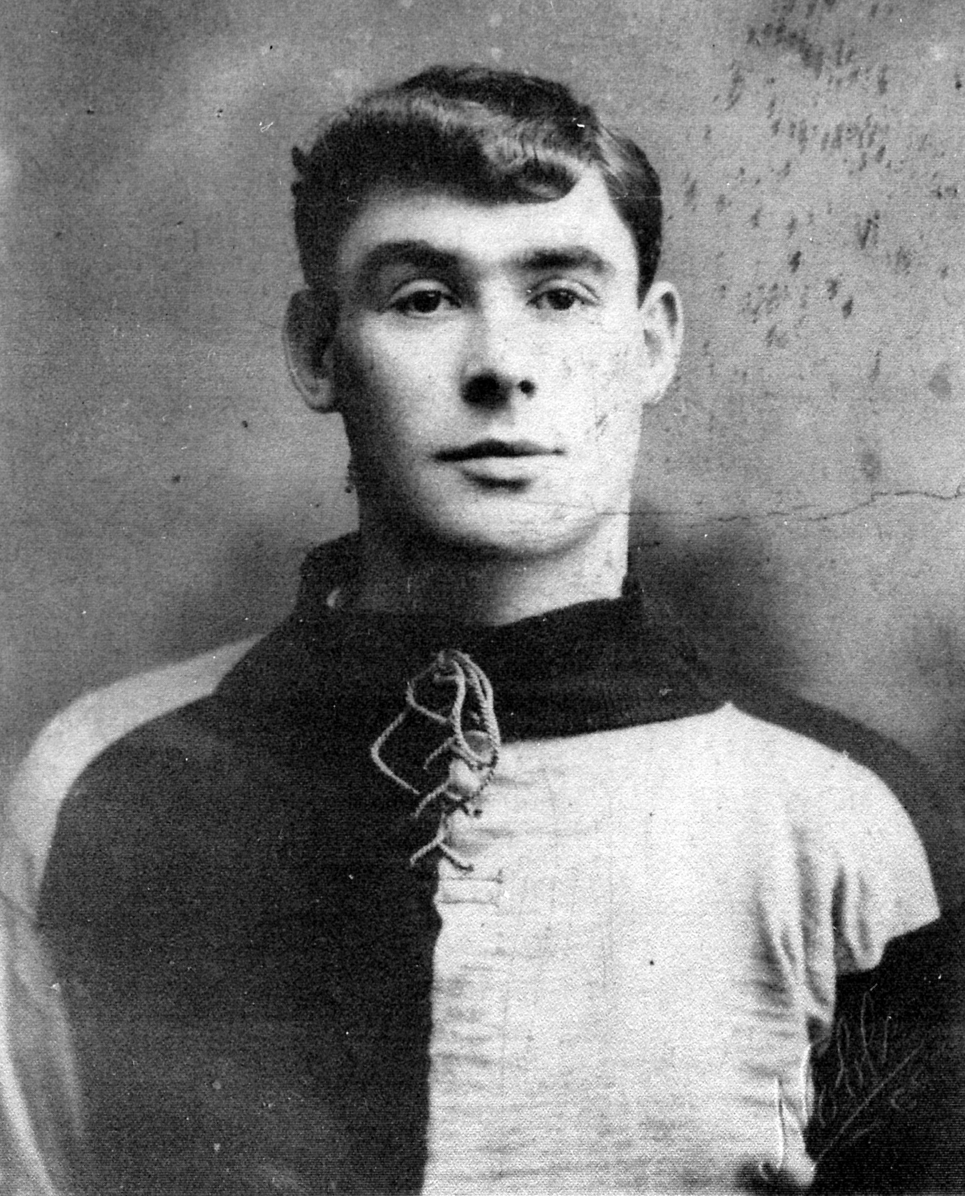 SHARP-DRESSED MAN: Sid Wheelhouse in an early Grimsby shirt – chocolate and blue quarters – soon after he signed from Shildon Athletic in 1907