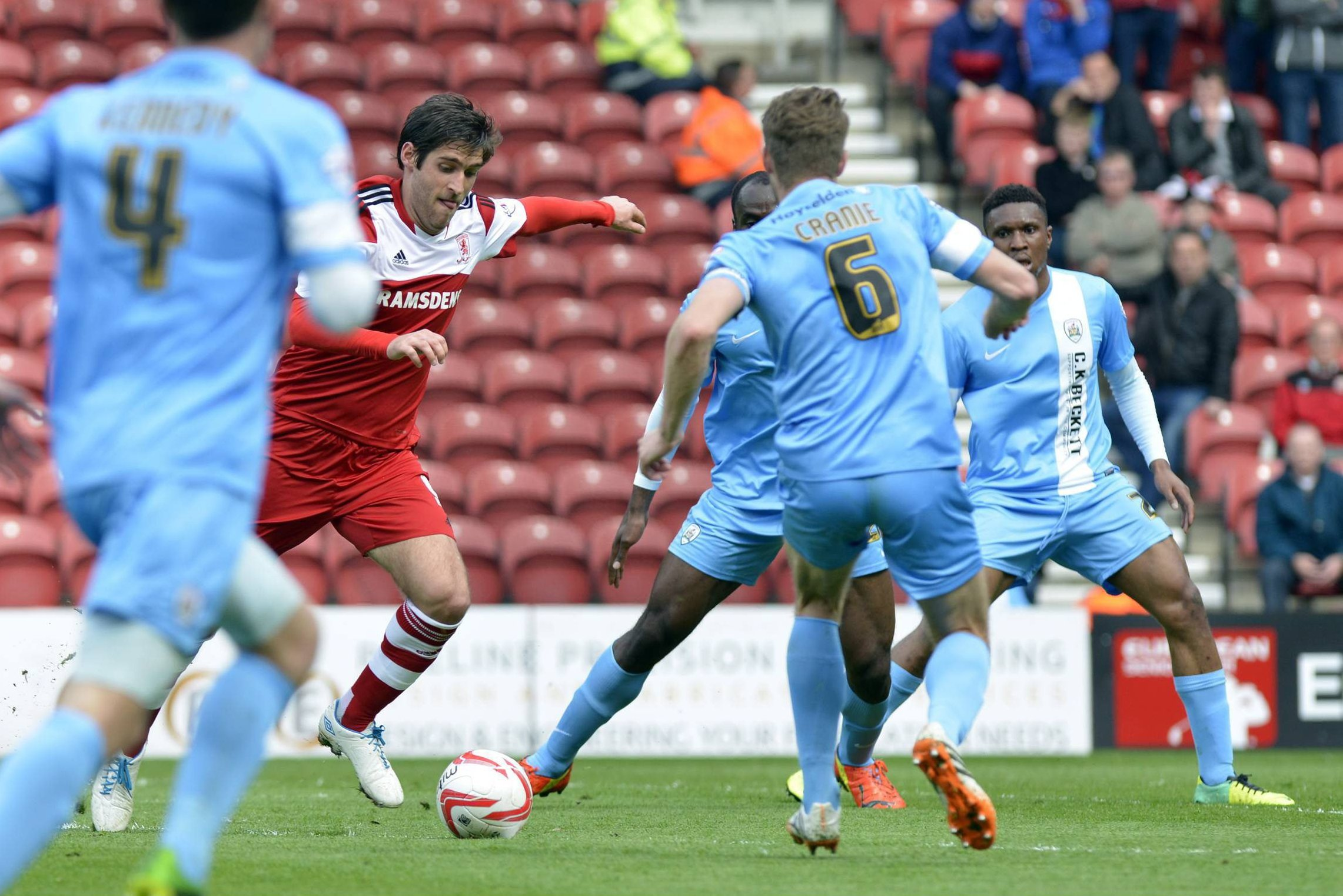 ON THE FRONT FOOT: On loan Middlesbrough striker Danny Graham, in action against Barnsley at the weekend