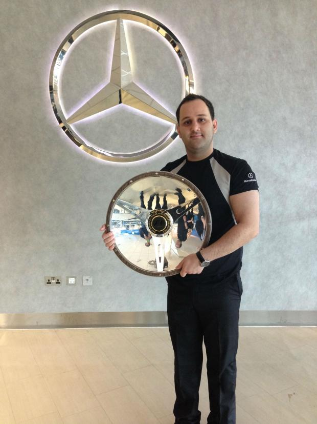 The Northern Echo: Power electronics student Omid Motaghimi, pictured with  a trophy from the 2014 Australian Grand Prix, won by Mercedes driver Nico Rosberg.