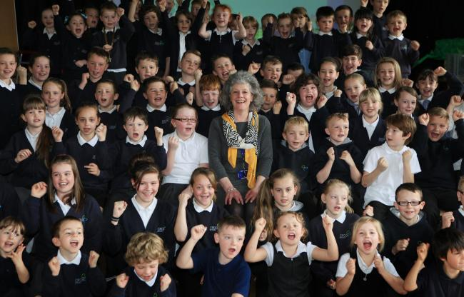 Marilyn Tempest is given a warm send off by pupils at Crook Primary School. Picture by Sarah Caldecott