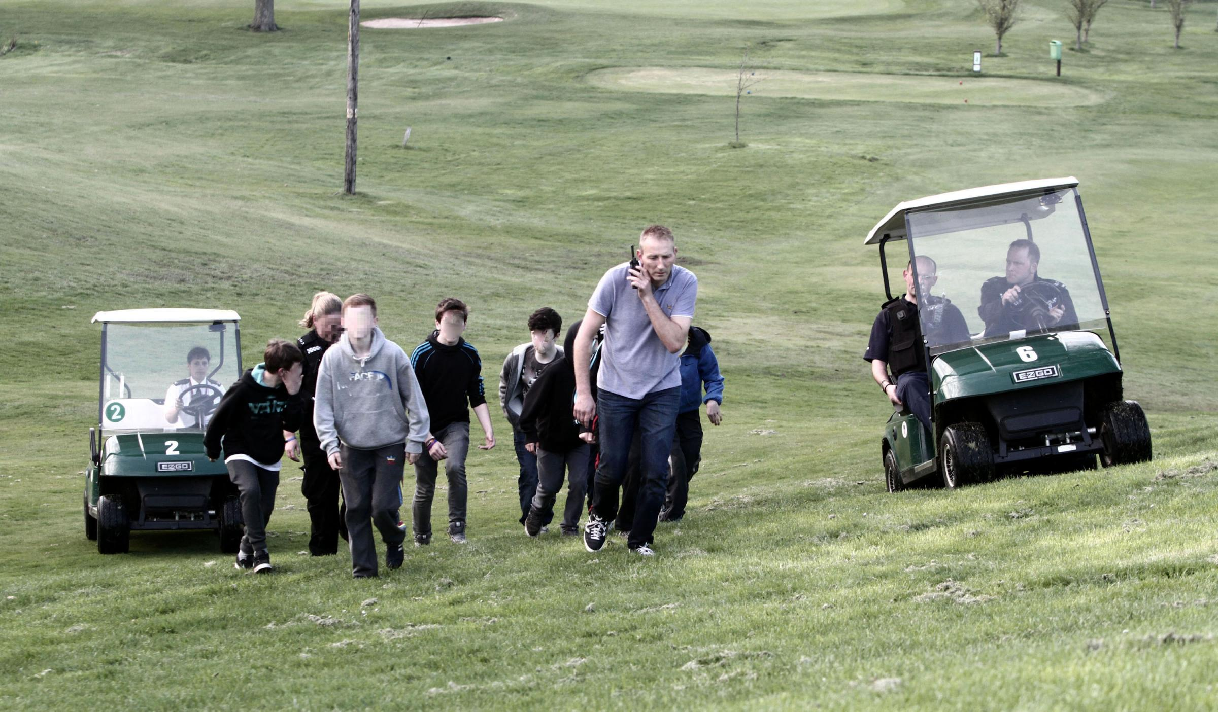 It's a fairway cop - as golf buggies used to round up youths