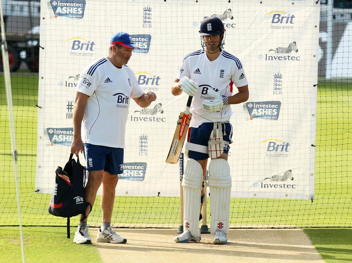 NO LONGER NEEDED: England's Alastair Cook, right, and Graham Gooch, who has been axed as batting coach