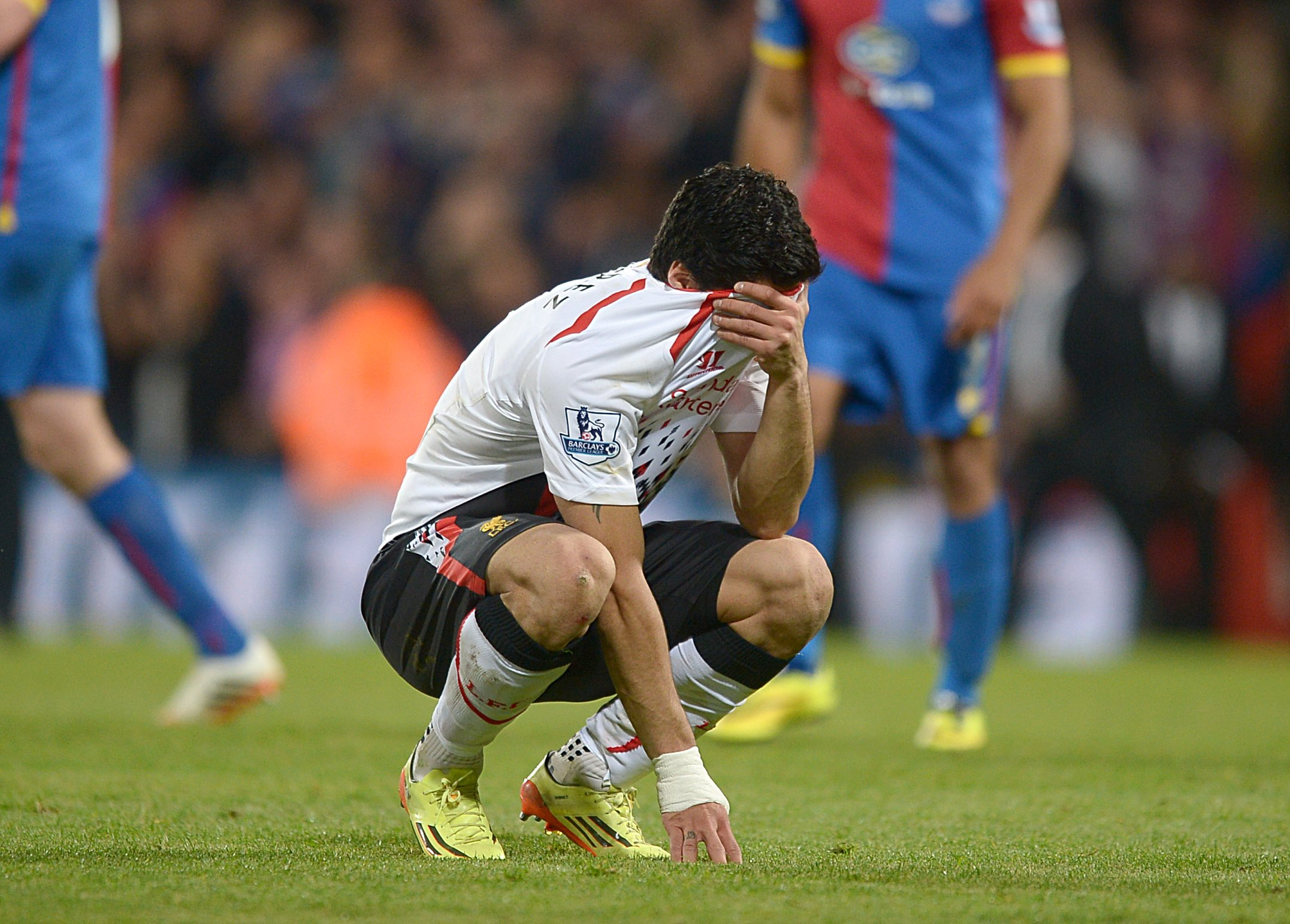 CHANCE GONE? Liverpool striker Luis Suarez can't comprehend the outcome at Selhurst Park last night