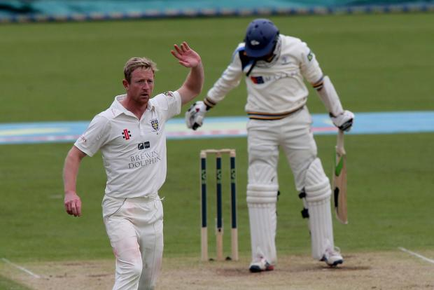 LONG DAY: Paul Collingwood appeals for a wicket on a frustrating day for Durham and spectators