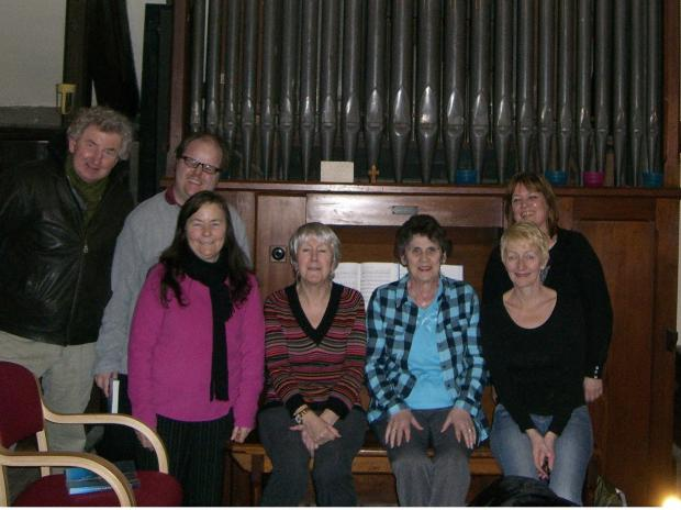Members of the organ restoration committee and St Joseph's choir with the Harrison and Harrison organ. Frank Mcgurk, Adam Bell, Deborah Suddes, Mary Bell, Terry Hall, Agnes Taylor and Janet Hildreth