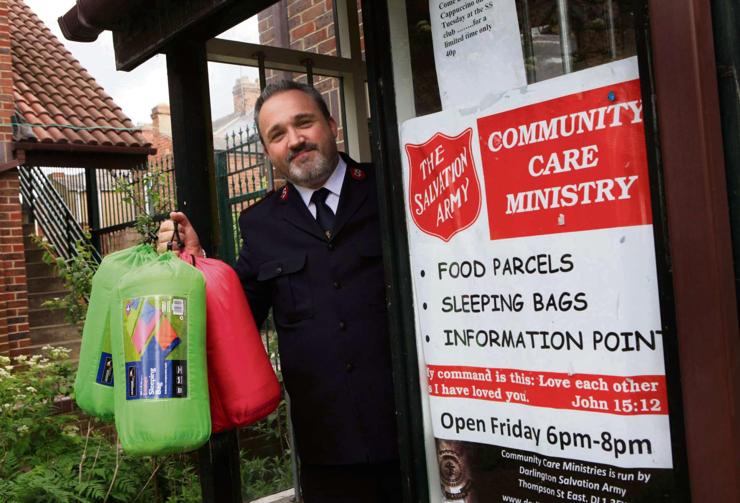 Darlington Salvation Army appeal for sleeping bags to be donated pictured Colin Bradshaw Salvation Army minister