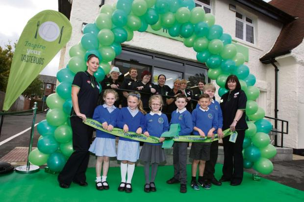 Pupils from Burnopfield Primary School cut the ribbon to open the new Co-operative Food store in Burnopfield