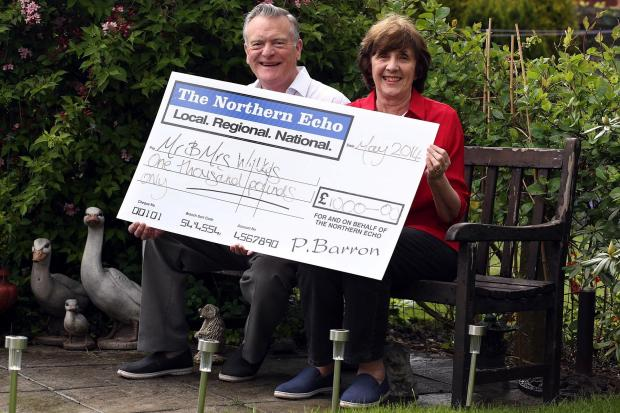 CASH WINNERS - John and Sheila Wilkes of  Darlington with a cheque for £1,000 after winning the April Cash Giveaway competition in The Northern Echo.  Picture: CHRIS BOOTH
