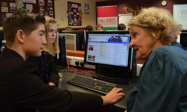 The Northern Echo: STAYING SAFE: Staindrop Academy year 9 pupils Elle Chippendale, 14, and Oliver Blenkinsop, 13, discuss internet safety with Bishop Auckland MP Helen Goodman