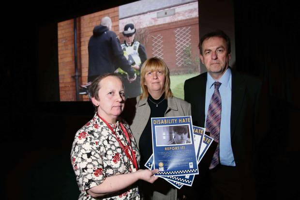 DVD LAUNCH: Pictured (left to right) are June Stubbs, co-ordinator of Middlesbrough Community Inclusion Service; Lynda Lord, Middlesbrough Community Inclusion Service; and Cleveland's Police and Crime Commissioner Barry Coppinger.