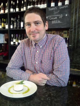 STING THING: Peter Wood, of Oldfields, samples the nettle cheesecake