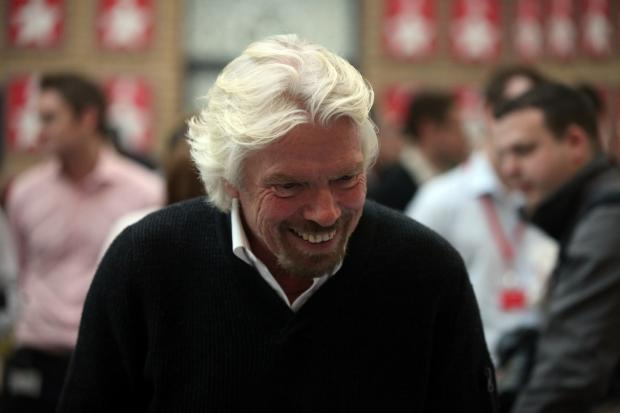 Sir Richard Branson at Virgin Money's offices in Newcastle