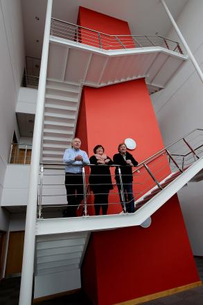 NEW START: Directors Paul Watts, left, Julie Price and David Price, from the AMA Group, pictured at the firm's base in Whitehouse Business Park, Peterlee