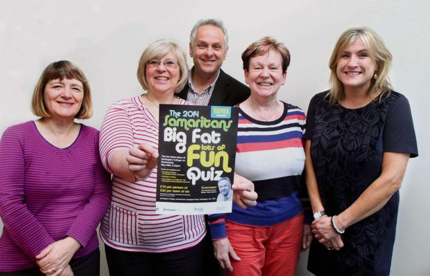 The Northern Echo: BIG FAT QUIZ: Lillian Howell, Gloria Wilson,Liz McAllister and Kath MacColl with Editor Peter Barron preparing for the Samiritans Quiz. Picture:RICHARD DOUGHTY (6166992)