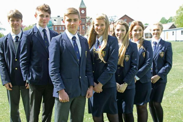 NEW TEAM: The new school officers who have been appointed to lead the student body at Ripon Grammar School 2014-15, (L-R) Joseph Lewis, Tom Stringer, head boy Nicholas Edwards, head girl Lauren Langham, Melody Swiers, Sophie Charlton and Hannah Moss
