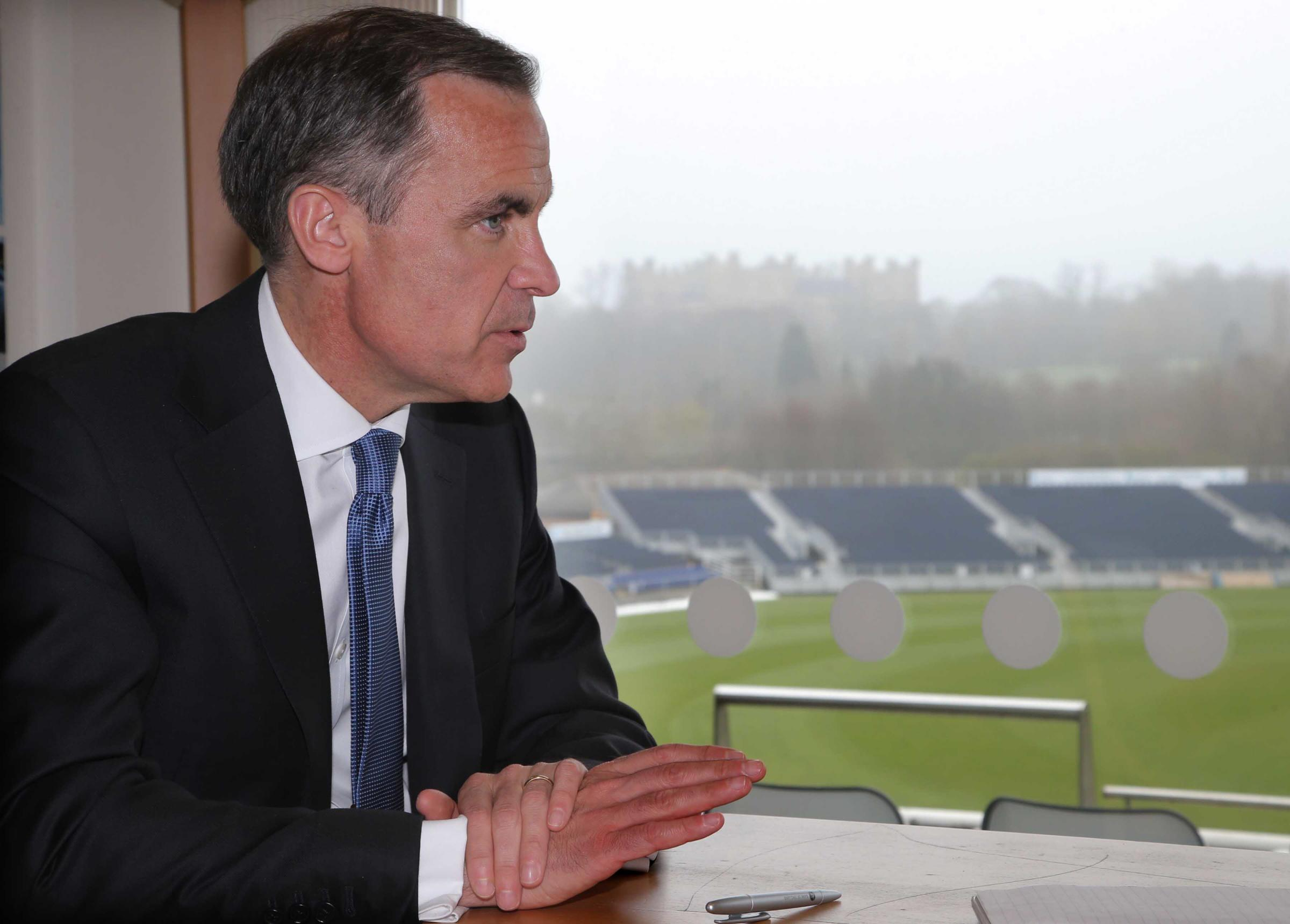 Mark Carney, Governor of the Bank of England at the cricket ground in Chester-le-Street in April
