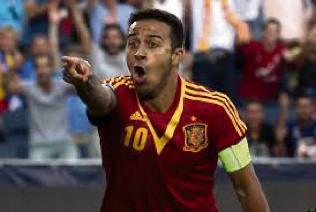 INJURY BLOW: Spain midfielder Thiago Alcantara will miss the World Cup finals after damaging his knee ligaments