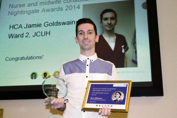 The Northern Echo: Jamie Goldswain pictured with his two Nightingale awards.