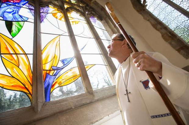 The Northern Echo: The Right Reverend Paul Butler, the Bishop of Durham, dedicates new Paradise window at St Brandon's Church, at Brancepeth.