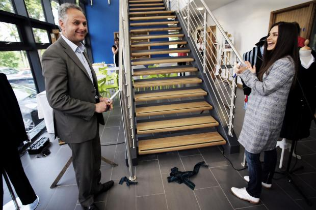 The Northern Echo: CUTTING THE RIBBON: Northern Echo editor Peter Barron and actor and former pupil Charlotte Riley open the new sixth form centre at Teesside High School.Picture:Stuart Boulton.