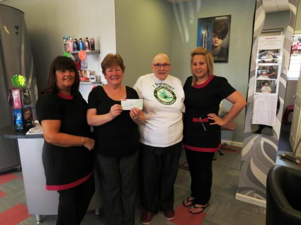 HAIR TODAY: Salon owner Sharon Williams, GNAAS volunteer co-ordinator Janet Hume, salon customer Janet Thorp and salon staff member Lauren Graeme.