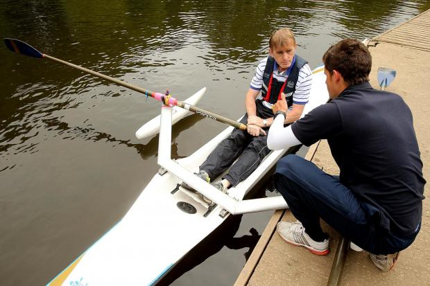 The Northern Echo: ON THE WATER: Veteran Tam Hunter from Phoenix House (left) with rowing coach Mark French at the Row2Recovery session at the Durham Amateur Rowing Club. Picture. DAVID WOOD (6390254)
