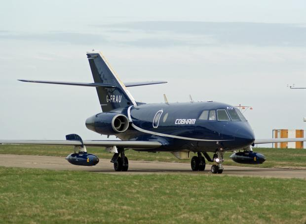 ON DUTY: A Cobham Aviation Services Dassault Falcon 20 plane