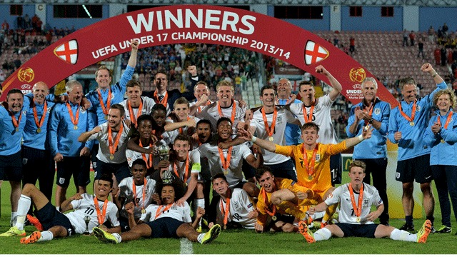 CHAMPIONS: England Under-17s celebrate their success at the European Championships (picture: Gary Stonehouse, the FA)