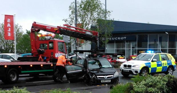 Emergency services at the scene of the accident on Saturday. Picture: Philip Storey