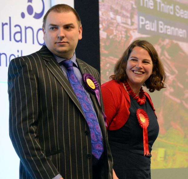 Newly-elected MEP Jude Kirton-Darling (Labour) with UKIP's winning candidate, Jonathan Arnott