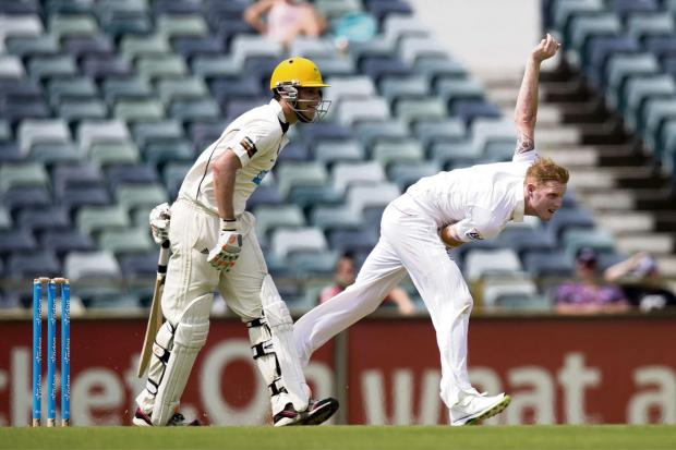 England's Ben Stokes bowls during their tour cricket match against Western Australia Chairman's XI in Perth, Australia, last year