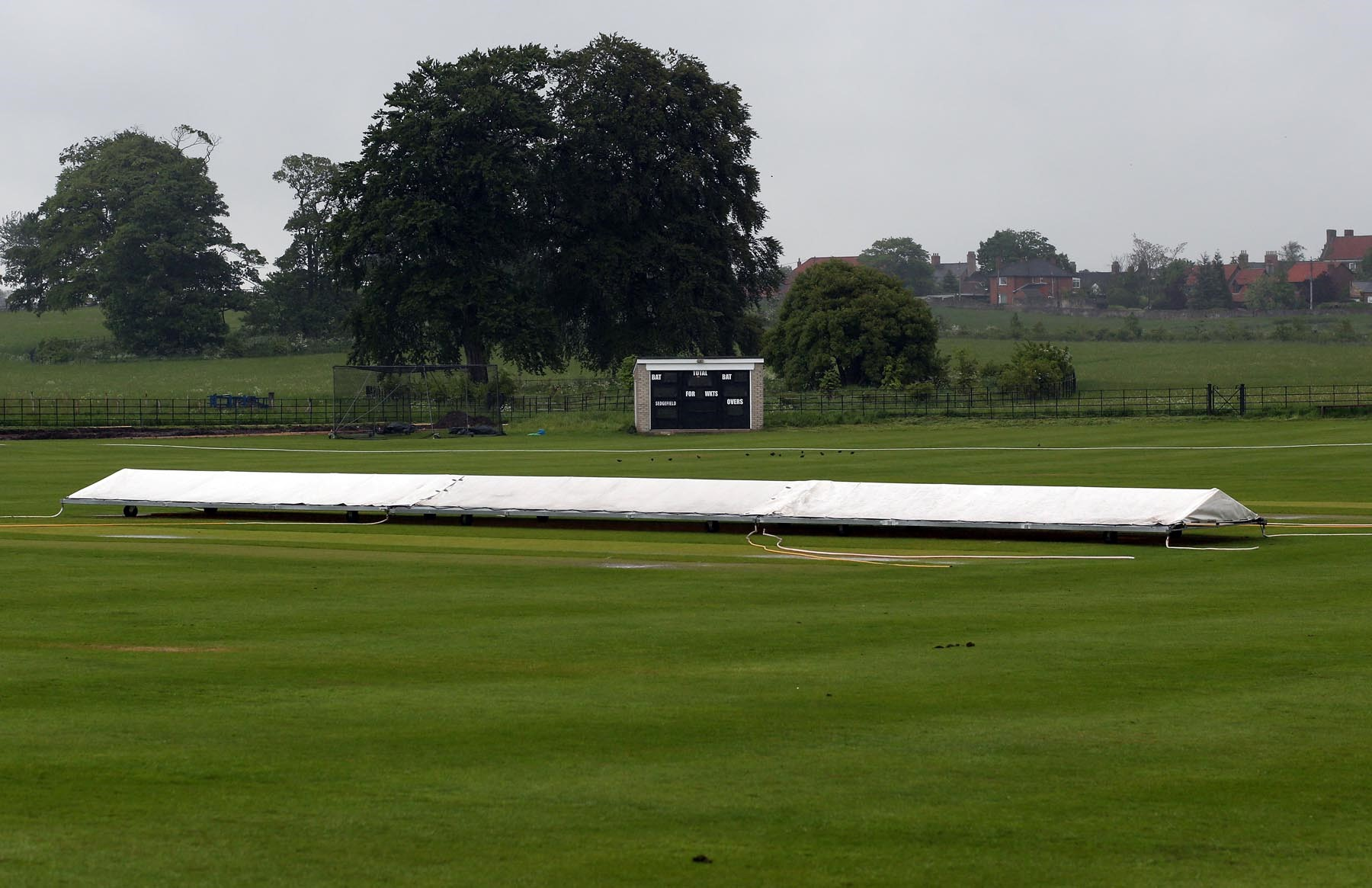 MATCH ABANDONED: Rain stops play at Sedgefield in the NYSD match between Sedgefield and Hartlepool