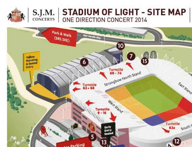 Sunderland Association Football Club has issued a map to help people plan getting into the gig (6531689)