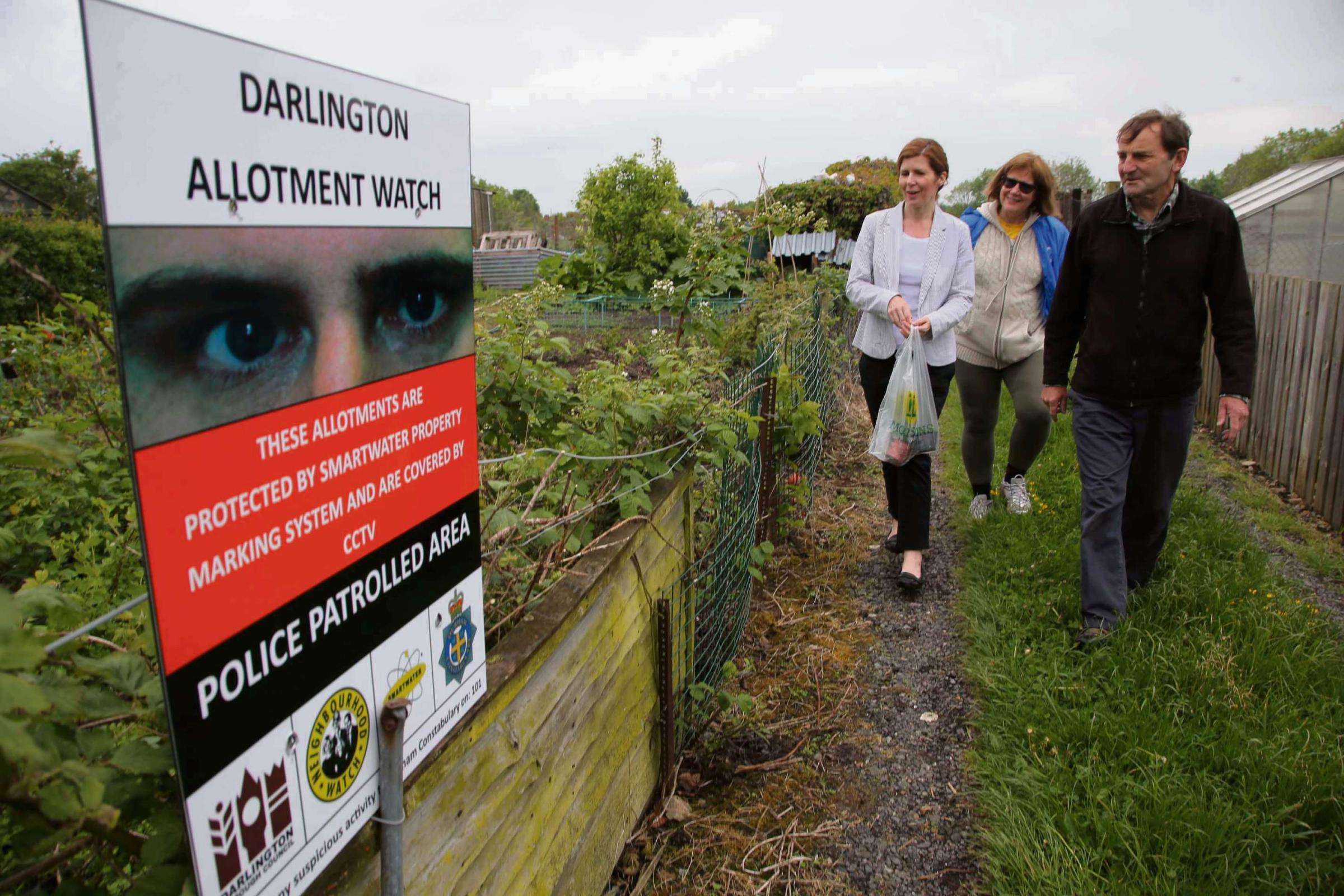 WATCHING YOU: The launch of allotment watch at Bellburn Lane, Darlington with from left MP Jenny Chapman, and allotment associati