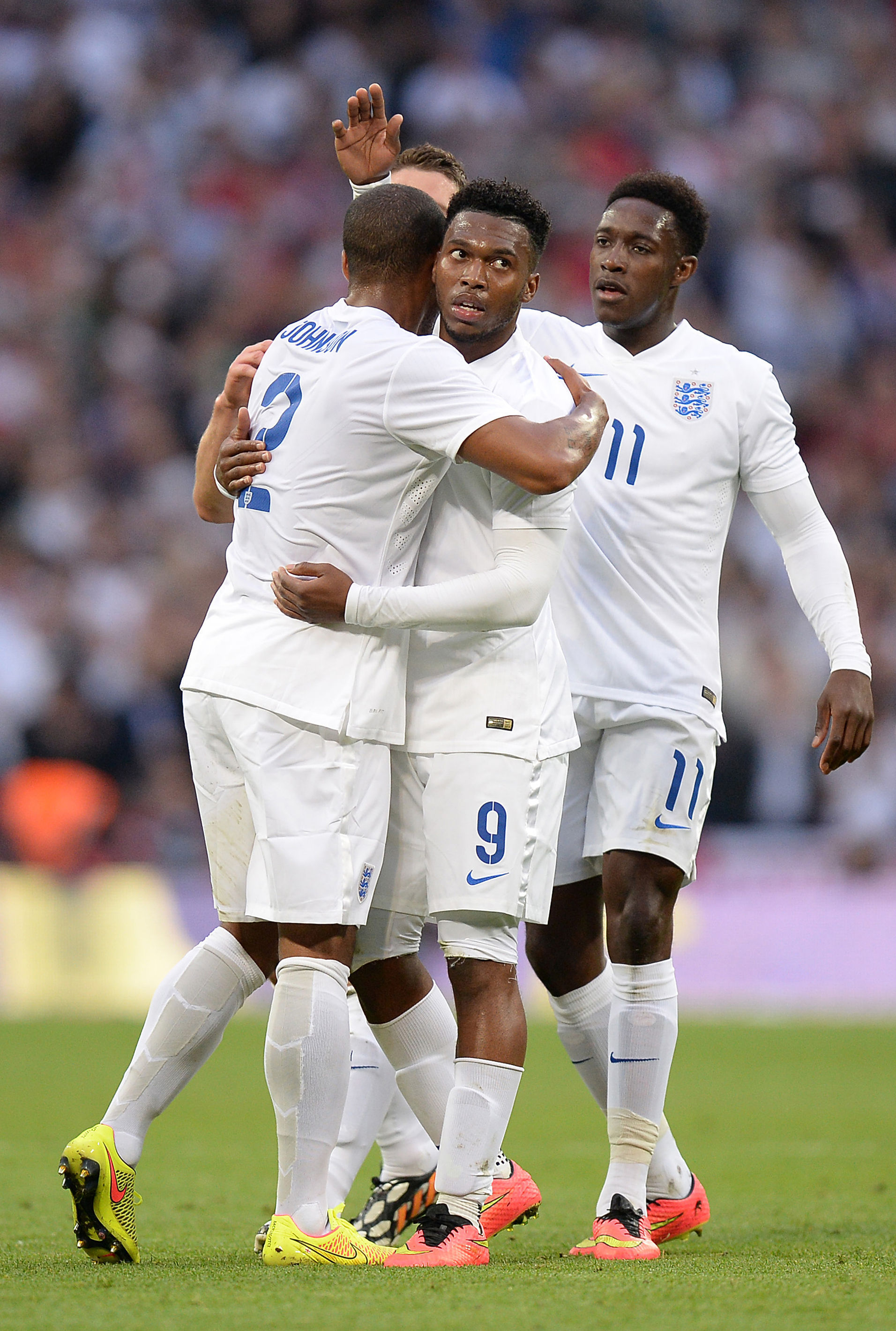 OPENING GOAL: England's Daniel Sturridge celebrates scoring his side's first goal in the 3-0 friendly win over Peru